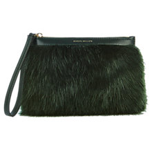 Buy Karen Millen Faux Fur Pochette, Dark Green Online at johnlewis.com