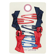 Buy John Lewis Bow And Ladybird Hair Clips, Pack of 6, Navy/Red Online at johnlewis.com