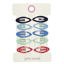 Buy John Lewis Mini Nautical Hair Clips, Pack of 10, Blue/Red Online at johnlewis.com