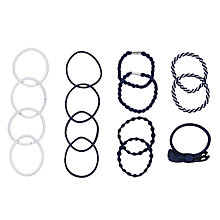 Buy John Lewis Hair Bands, Pack of 15, Navy/White Online at johnlewis.com