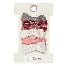 Buy John Lewis Lurex Bow Hair Clips, Pack of 5, Multi Online at johnlewis.com