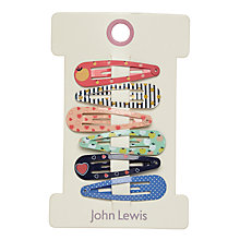 Buy John  Lewis Pattern Click Clack Hair Clips, Pack of 6, Multi Online at johnlewis.com