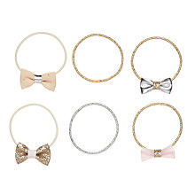 Buy John Lewis Metallic Fibre Bow Hair Ponies, Pack of 6, Gold/Silver Online at johnlewis.com