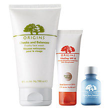 Buy Origins VitaZing™ SPF15 Energy-Boosting Moisturiser, 50ml and Super Spot Remover™ Blemish Treatment Gel, 10ml with Free Origins Checks And Balances™ Frothy Face Wash, 150ml Online at johnlewis.com
