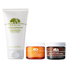 Buy Origins Night-A-Mins™ Crease Release Moisturiser, 50ml and GinZing™ Moisturiser, 50ml with Free Origins Checks And Balances™ Frothy Face Wash, 150ml Online at johnlewis.com