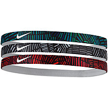 Buy Nike Print Headband, Pack of 3, Multi Online at johnlewis.com