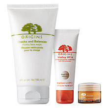 Buy Origins VitaZing™ SPF15 Energy-Boosting Moisturiser, 50ml and GinZing™ Refreshing Eye Cream To Brighten And Depuff, 15ml with Free Origins Checks And Balances™ Frothy Face Wash, 150ml Online at johnlewis.com