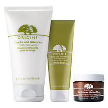 Buy Origins Night-A-Mins™ Crease Release Moisturiser, 50ml and Drink Up™ Intensive Overnight Mask To Quench Skin's Thirst, 100ml with Free Origins Checks And Balances™ Frothy Face Wash, 150ml Online at johnlewis.com