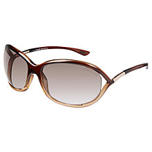 Buy TOM FORD FT008 Jennifer Rectangular Sunglasses, Brown Online at johnlewis.com