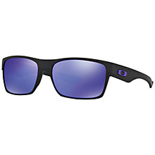 Buy Oakley OO9189 Two Face Rectangular Sunglasses, Black/Violet Iridium Online at johnlewis.com