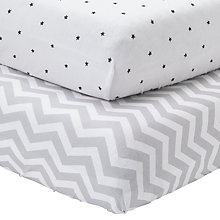 Buy John Lewis Chevron and Star Printed Fitted Cotbed Sheet, Pack of 2, Grey/White Online at johnlewis.com