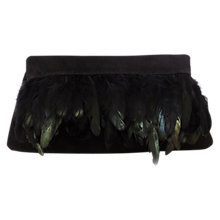 Buy Coast Manx Feather Clutch Bag, Black Online at johnlewis.com