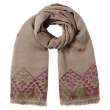 Buy East Jacquard Border Scarf, Stone Online at johnlewis.com