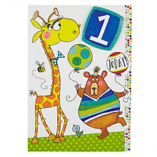 Buy Rachel Ellen Giraffe & Bear 1st Birthday Card Online at johnlewis.com