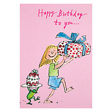 Buy Woodmansterne Girl And Frog Holding Presents Birthday Card Online at johnlewis.com