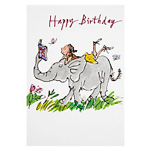 Buy Woodmansterne Girl Reading On Elephant Birthday Card Online at johnlewis.com