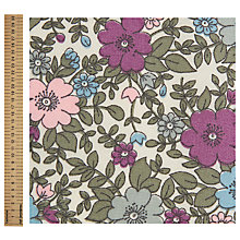 Buy John Lewis Flower Print Fabric, Cream/Lilac Online at johnlewis.com