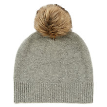 Buy Warehouse Cashmere Hat, Light Grey Online at johnlewis.com