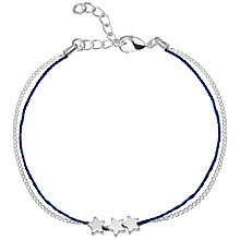 Buy Estella Bartlett Star Charm Cord and Chain Bracelet, Silver/Navy Online at johnlewis.com