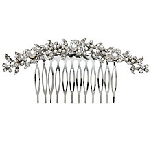 Buy John Lewis Curved Faux Pearl and Diamante Comb, Silver Online at johnlewis.com