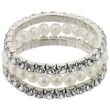 Buy John Lewis Faux Pearl and Diamante Bracelet, Pack of 3, Silver Online at johnlewis.com