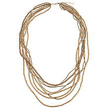Buy John Lewis Wooden Layered Beads Long Necklace, Sand/Gold Online at johnlewis.com