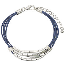 Buy John Lewis Multi Strand Cord Tube Beads Bracelet, Blue/Silver Online at johnlewis.com