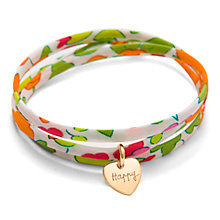 Buy Message by Merci Maman Be Happy 18ct Gold Plated Bright Liberty Wrap Bracelet, Multi Online at johnlewis.com