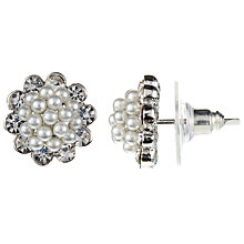 Buy John Lewis Faux Pearl and Cubic Zirconia Cluster Flower Stud Earrings, Silver Online at johnlewis.com
