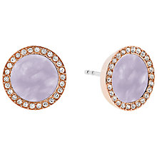 Buy Michael Kors Disc Stud Earrings, Rose Gold/Lavender Online at johnlewis.com