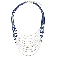 Buy John Lewis Multi Strand Cord Tube Beads Necklace, Blue/Silver Online at johnlewis.com