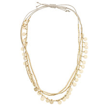 Buy John Lewis Mini Tube and Discs Cord Necklace, Cream/Gold Online at johnlewis.com