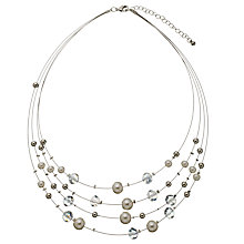 Buy John Lewis Faux Pearl And Bead Illusion Necklace, Silver/White Online at johnlewis.com