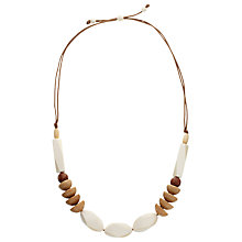 Buy John Lewis Large Wooden Bead Necklace, Beige/Cream Online at johnlewis.com