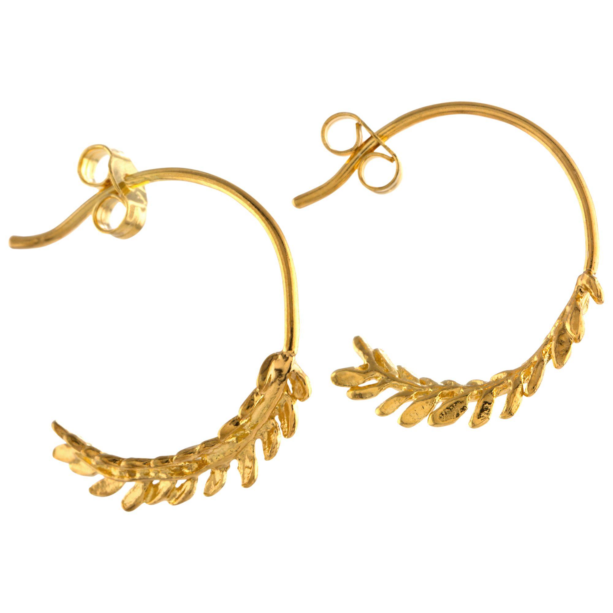 Alex Monroe Alex Monroe Leaf Hoop Earrings, Gold