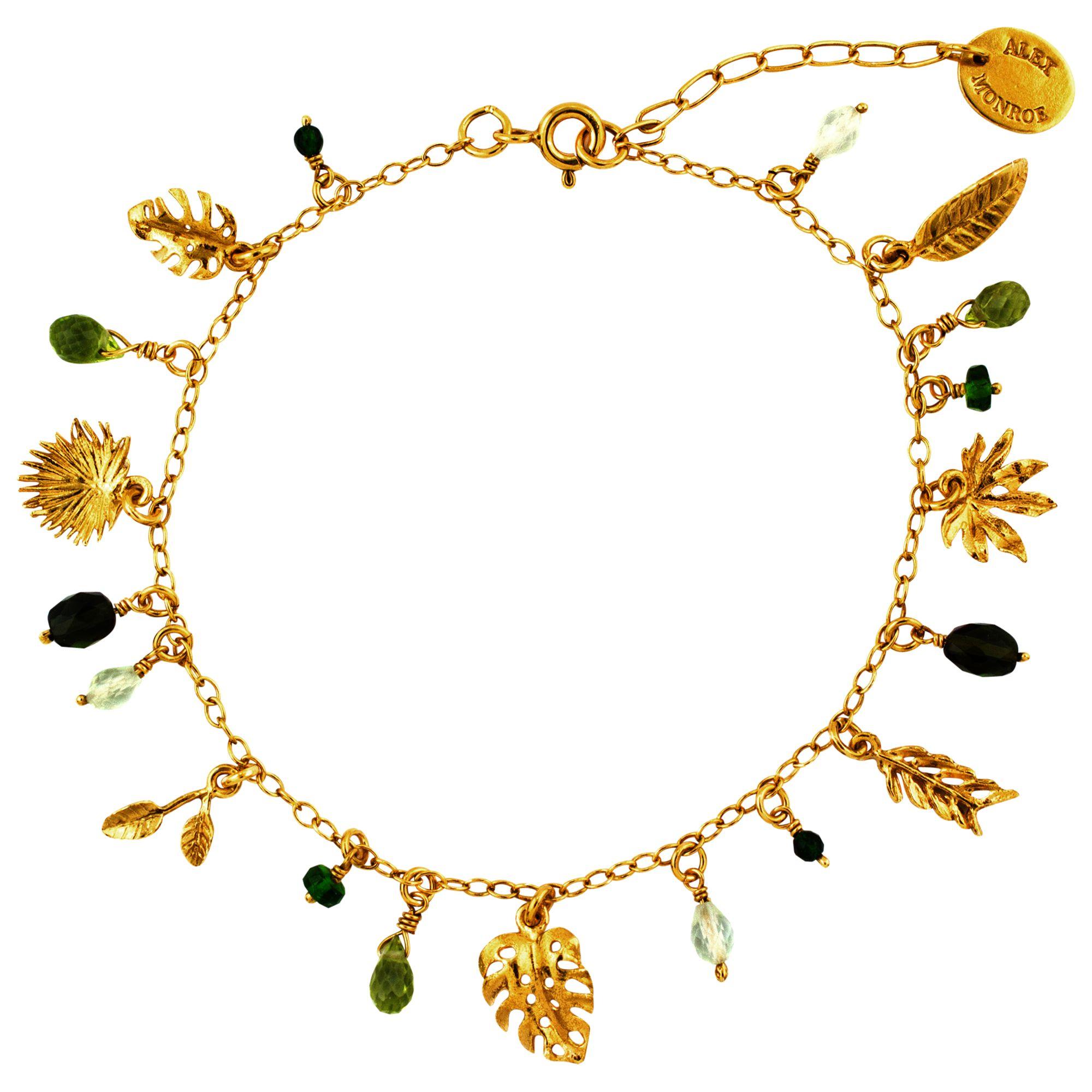 Alex Monroe Alex Monroe Tropical Leaf Charm Bracelet, Gold