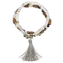 Buy John Lewis Double Bead Tassel Stretch Bracelet, Multi Online at johnlewis.com