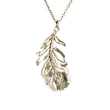 Buy Alex Monroe Drop Feather Pendant Necklace, Silver Online at johnlewis.com