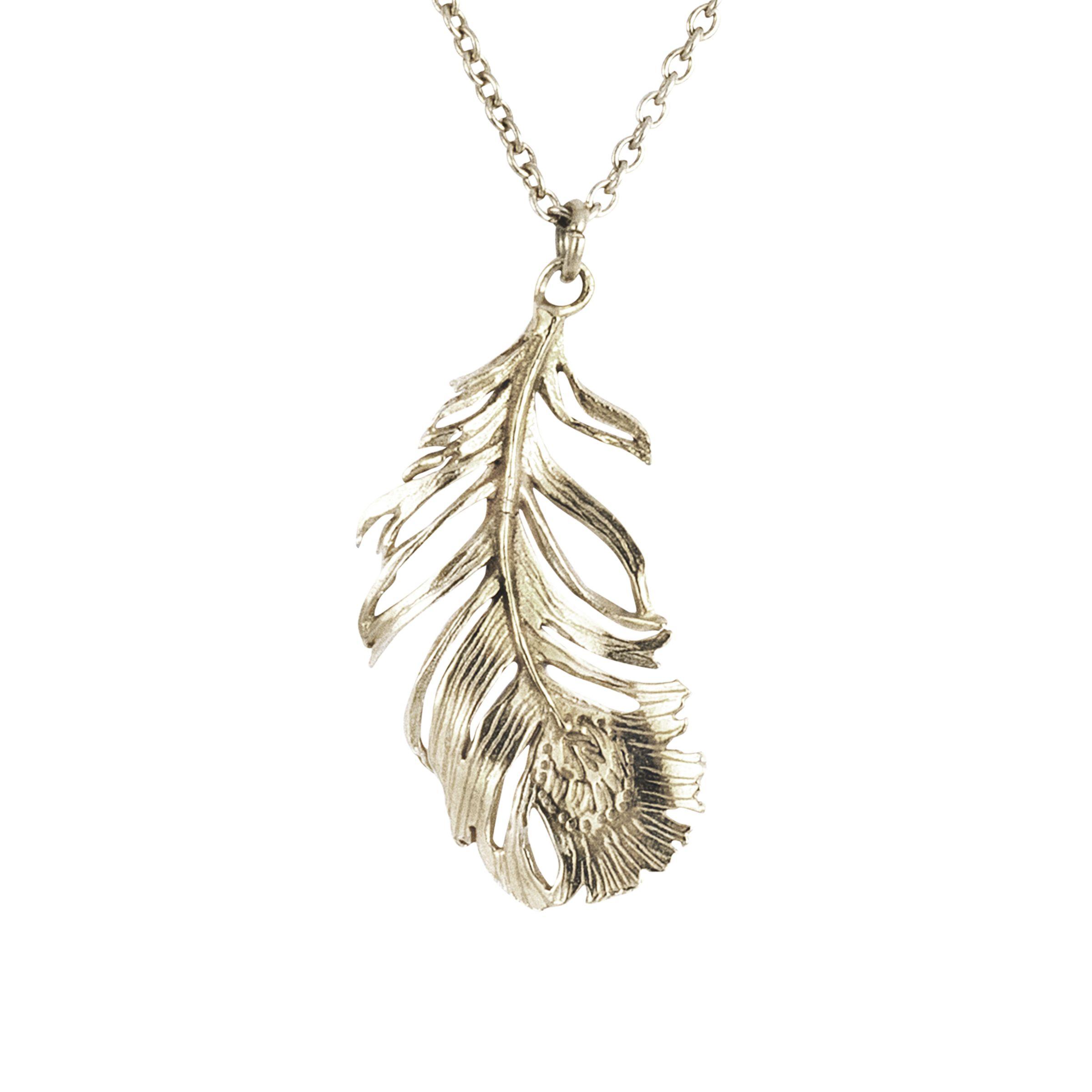 Alex Monroe Alex Monroe Drop Feather Pendant Necklace, Silver