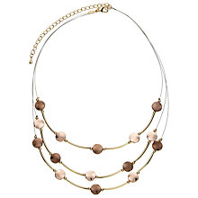 Buy John Lewis Illusion Bead Necklace, Brown/Gold Online at johnlewis.com