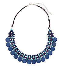 Buy One Button Medium Wooden Disc Bead Necklace, Blue/Purple Online at johnlewis.com