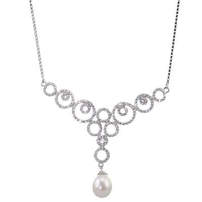 Lido Pearls Cubic Zirconia and Freshwater Pearl Circle Pendant Necklace, Silver