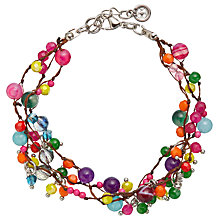 Buy One Button Triple Line Mini Glass Bead Bracelet, Multi Online at johnlewis.com