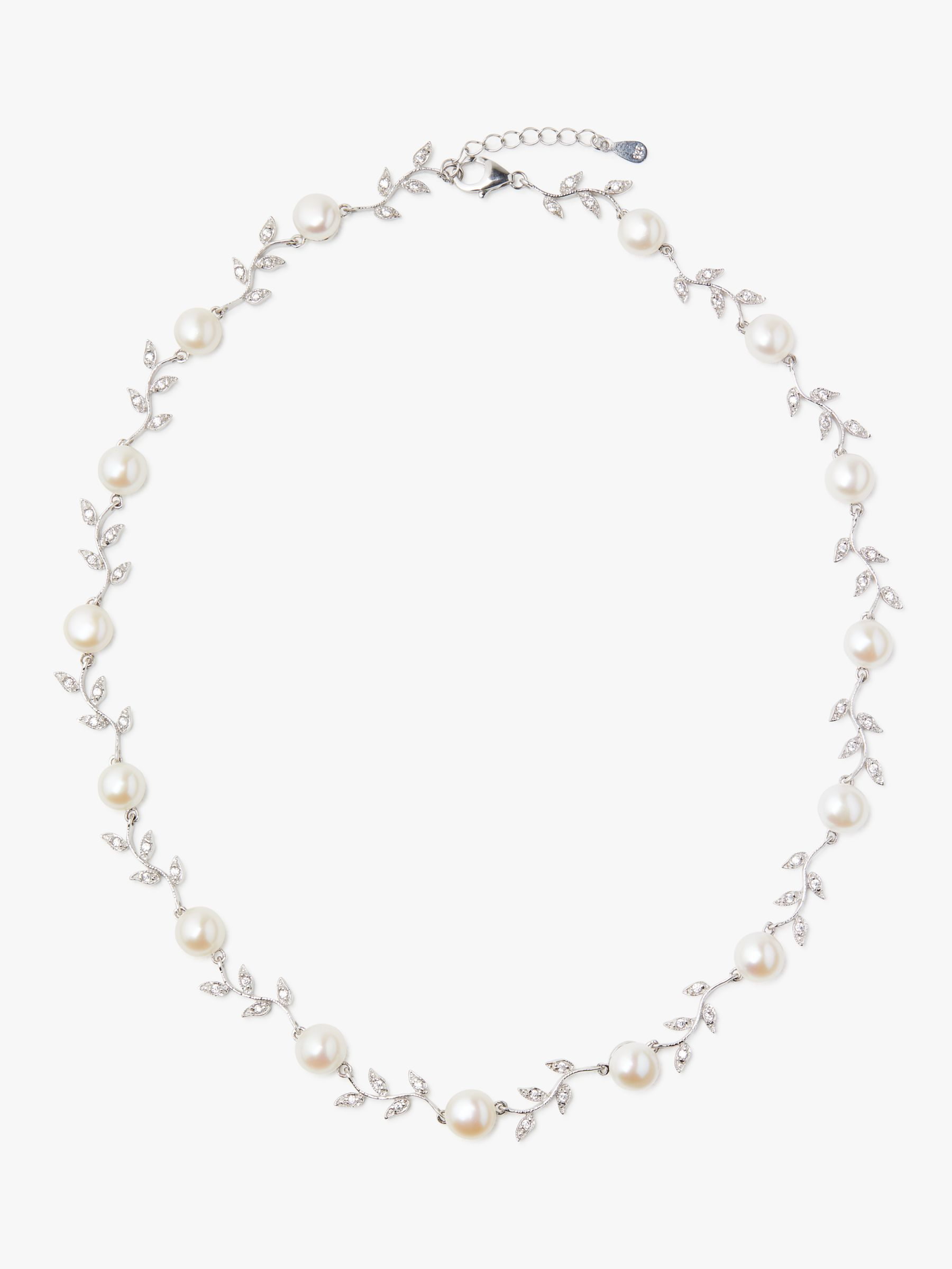Lido Pearls Lido Pearls Leaf Pearl Necklace, Silver/White