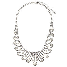 Buy John Lewis Faux Pearl and Cubic Zirconia Statement Bib Necklace, Silver Online at johnlewis.com