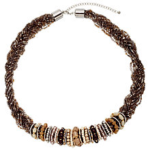 Buy John Lewis Plait Rings and Bead Necklace, Brown/Gold Online at johnlewis.com
