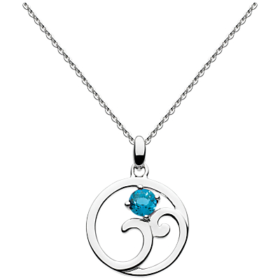 Kit Heath Norah Shine London Topaz Pendant Necklace, Silver/Blue