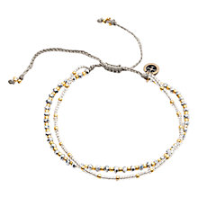 Buy One Button Glass and Metal Bead Friendship Bracelet, Gold/Pewter Online at johnlewis.com