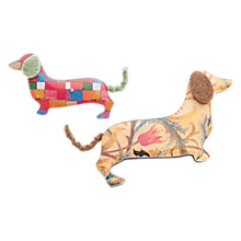 Buy One Button Mummy and Baby Sausage Dog Brooch, Yellow/Multi Online at johnlewis.com
