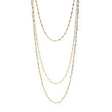 Buy Azuni 18ct Gold Plated Three Strand Semi-Precious Stone Toggle Necklace, Gold/Multi Online at johnlewis.com